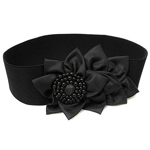 Zcargel Women 6cm Width Beige Textured Band Elastic Cinch Waist Belt (Black)
