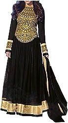 Mahaveer Fashions Women's Chiffon Unstitched Salwar Suit (MFB_01, Black)