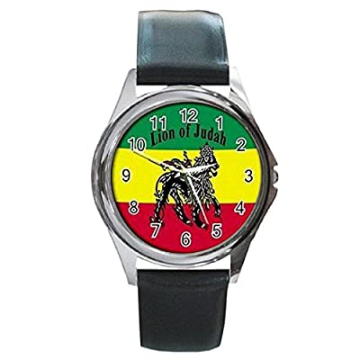 PHLA048 Rasta Jamaica Lion Jamaican Rare Leather Watches New