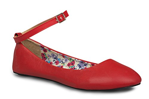 Twisted Womens Faux Leather Ankle Strap Ballet Flats - RED, Size 9 (Red Ballet Flats For Women compare prices)