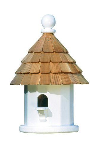 Lazy Hill Farm Designs 41434 Back Porch Wren House White Solid Cellular with Natural Redwood Shingle Roof, 9-1/4-Inch by 14-Inch