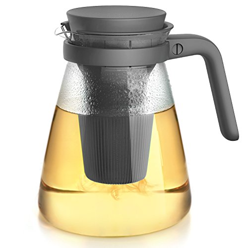 Modern Glass Teapot With Infuser & Lid For Loose Leaf and Blooming Tea. 40.5oz Safe for Microwave & Stove. (Microwavable Glass Pitcher compare prices)