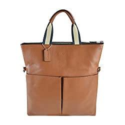 Coach Men's Foldover Smooth Leather City Tote (71722 Saddle)