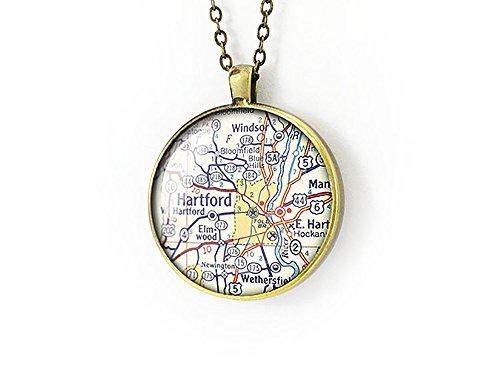 collier-carte-1958-hartford-connecticut-pendentif-rond-en-argent-love-cadeau-pour-petite-amie