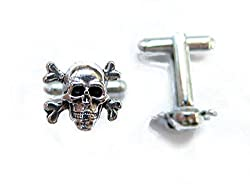 Skull and Crossbones Silver Cufflinks By Classic Cufflinks