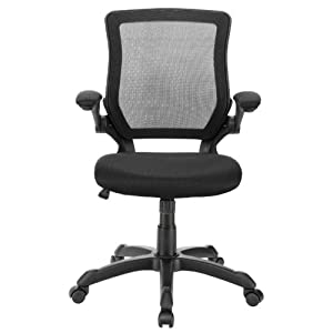 LexMod Veer Office Chair with Mesh Back and Mesh Fabric Seat in Black