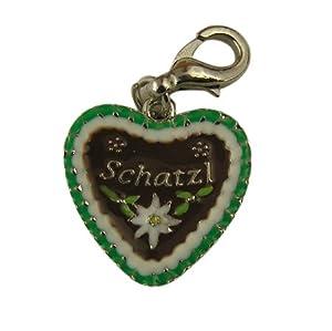 """Trachtenschmuck Armband Charivari Charm Anhänger - Lebkuchenherz """"Schatzl"""" grün"""