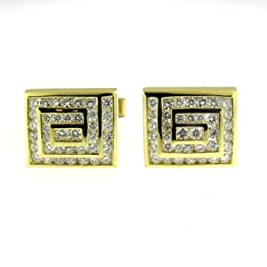 4.05 ct Yellow Gold Diamond Cufflinks 14 kt