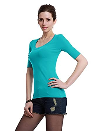 Doublju Scoop Neck Basic Knit T-shirt with Half Sleeve Aqua Small