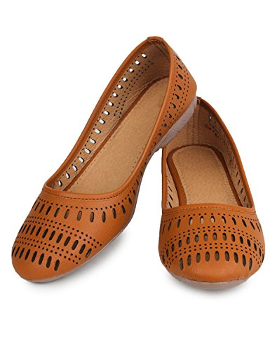 Thari Choice Woman Faux Leather Belly Shoe (Ind/Uk-5 (Eu-38), Tan)
