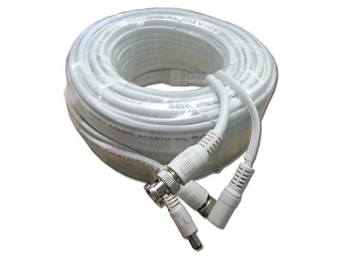 Aposonic A-XRG5960FT Coaxial RG-59 Video and Power Siamese Cable 60-Feet for HD-SDI, CVI, TVI, & Analog Cameras (White)