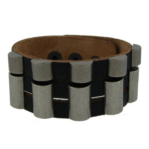 Genuine Leather Ruler Black Vintage Biker Bracelet