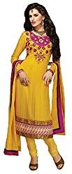 Pehnava Women's Georgette Unstitched Suit (FL904_Yellow_Free Size)