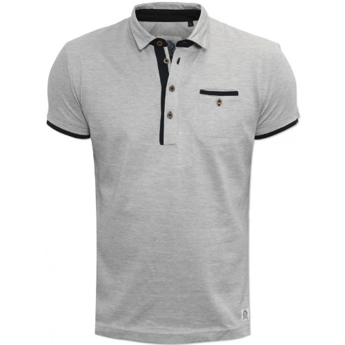 Guide London Mens Grey SJ3735 Polo Shirt Black Tipping Chest Pocket RRP 55 Grey Large
