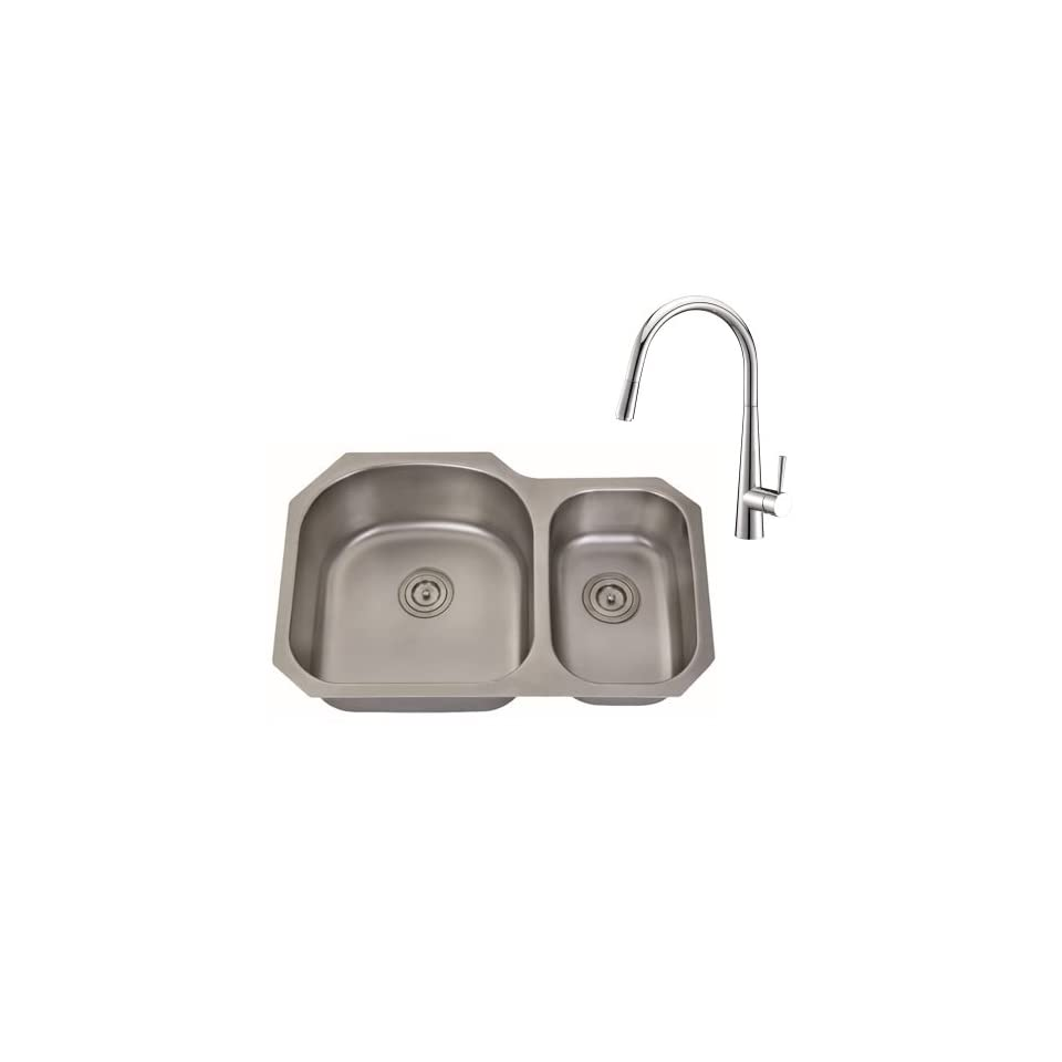 Ruvati RVC2532 Stainless Steel Kitchen Sink and Polished Chrome Faucet Set