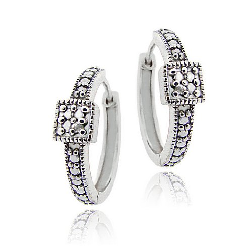 Sterling Silver Diamond Accent Square Design Hoop Earrings