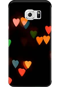 AMEZ designer printed 3d premium high quality back case cover for Samsung Galaxy S6 Edge (abstract hearts)