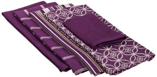 DII 100% Cotton, Machine Washable 5-Piece Everday Kitchen Basic Dishtowel Set, Includes 4 Dishtowels and 1 Dishcloth, Oversized, Eggplant