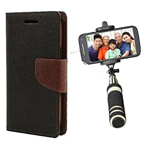 Aart Fancy Diary Card Wallet Flip Case Back Cover For Redmi MI4 - (Blackbrown) + Mini Aux Wired Fashionable Selfie Stick Compatible for all Mobiles Phones By Aart Store