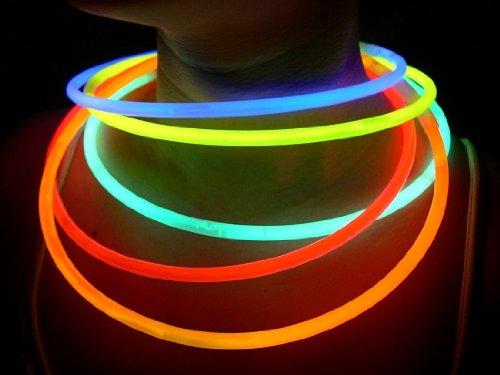 100 Glow With Us Brand 22″ SUPERIOR Assorted Glow Necklaces Sticks Bulk Wholesale Glowsticks w/ 100 FREE Assorted Glow Bracelets