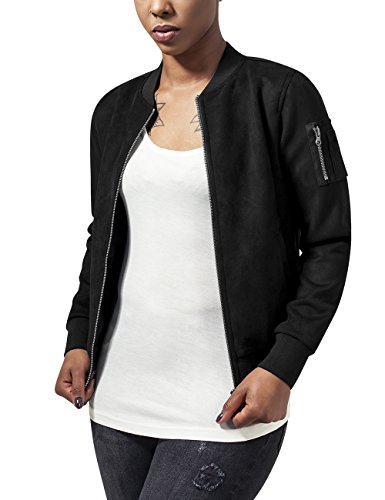 Urban Classics Ladies Imitation Suede Bomber Jacket, Giacca Donna, Nero (Black 7), 44