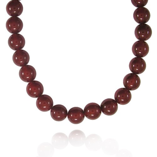 12mm Round Red Agate Bead Necklace, 60