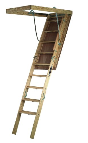 Louisville Ladder S305P Big Boy Wood Attic Ladder 30-Inch by 60-Inch 350-pound Capacity Up to 8-Foot-9-Inch Ceiling Height