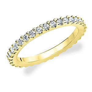 14K Yellow Gold Diamond Knife Edge Eternity Band (1.0 cttw, F-G Color, VVS1-VVS2 Clarity) Size 10