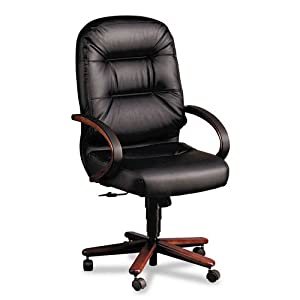 "Hon 2191NSR11 Executive High Back Chair,26-1/4""x29-3/4""x46-1/2"", Black Leather/Mahogany"