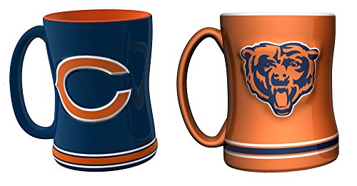 Chicago Bears Nfl Combo Set 2 Relief Coffee Mugs Orange And Blue