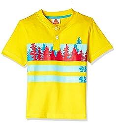 UFO Boys' T-Shirt (AW-16-KF-BKT-207_Yellow_10 - 11 years)