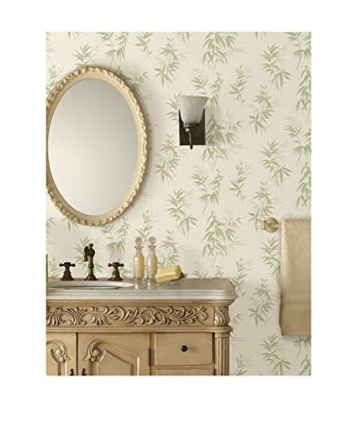 Brewster Oates Green Bamboo Leaf Texture Peelable Wallpaper, Green/Beige