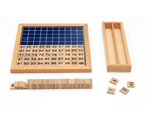 Vidatoy Classic Hundred Board Montessori 1-100 Consecutive Numbers Wooden Toys for Children - Upgraded Version (Counting Numbers 100 compare prices)