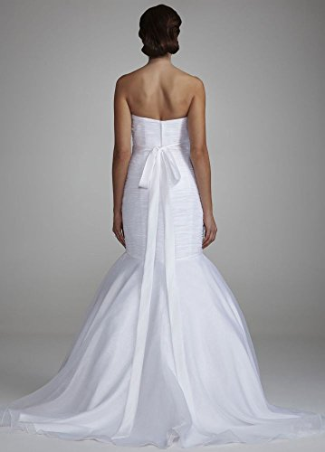SAMPLE: Strapless Organza Fitted Wedding Dress with Draped Bodice Style...