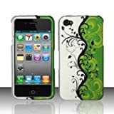Rubberized Green Silver Black Vines Flower Snap on Design Case Hard Case Skin Cover Faceplate for Apple Iphone 4 4S (AT&T/Verizon/Sprint)