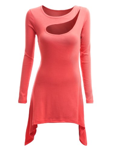 Doublju Doublju Womens Jersey Top with Side High-low and Sexy Hole PEACH S (KWTS087)