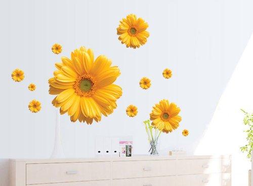 Createforlife Home Decor Vinyl Wall Sticker Yellow Sunflower Kids Room Decal Art Mural Wallpaper