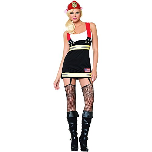 [GSG Backdraft Babe Costume Firefighter Fireman Firewoman Halloween Dress] (Womens Elf Warrior Costume)
