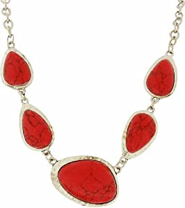 Necklace - Red Turquoise and Tibetan Silver Necklace - Kiki's Red Turquoise