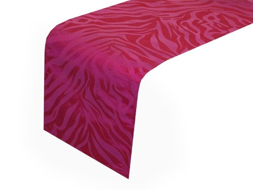 12'' X 108'' Safari Animal Print Zebra Table Runner - Fuchsia front-1021990