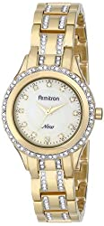 Armitron Women's 75/5153CMGP Swarovski Crystal Accented Gold-Tone Bracelet Watch
