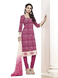 Touch Trends Magenta Embroidered Dress Material
