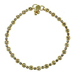NNITS Golden Diamond Studded Anklet (Pack of 2)