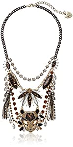 "Betsey Johnson ""Hollywood Glam"" Leopard Stone Tassel Necklace"