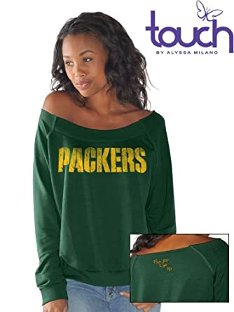 Green Bay Packers Draft Choice Off-Shoulder Long Sleeve Ladies Sweatshirt by Green Bay Packers