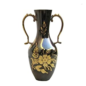 """Greek-inspired Brass Vase with Black Finish, Natural Flowers and Handles - 8"""""""