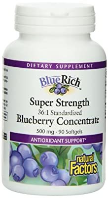 Natural Factors BlueRich Super Strength Blueberry Concentrate, 500mg, 90 Softgels