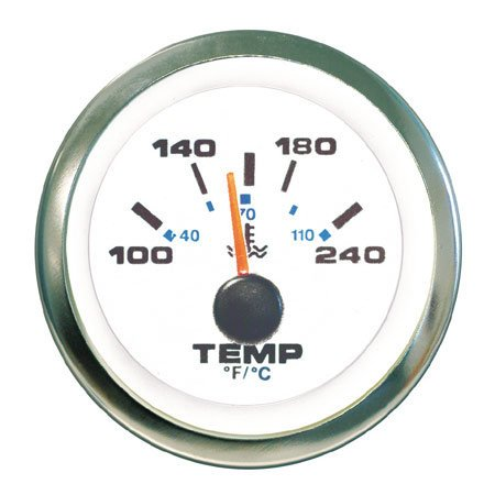Teleflex White Premier Pro Instrument - Water Temp Gauge (120-240)