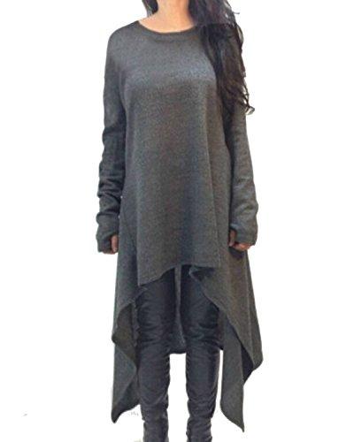 ZANZEA-Femme-Plain-Manches-Longues-Tunique-Pull-over-Jumper-Blouse-Asymmetric-Longue-Robe
