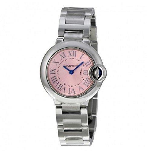 Cartier Women's Ballon Bleu De Cartier 28mm Steel Bracelet & Case Quartz Pink Dial Analog Watch W6920038